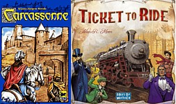 Carcassonne and Ticket to Ride fun gateway board games for adults