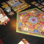 Belfort main districts board, player areas, and auxiliary boards